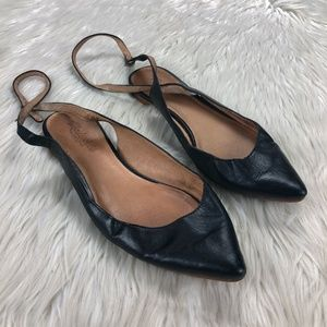 Madewell Black Leather Ankle Wrap Point Toe Flats